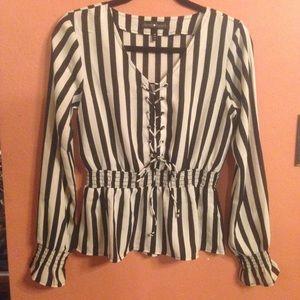 Dereck❤️heart lace up striped top sz m